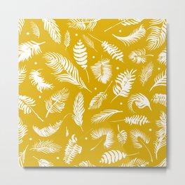 Golden beach palm set pattern Metal Print