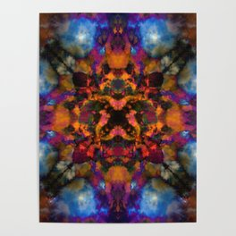 Psychedelic kaleidoscope cloud pattern Poster