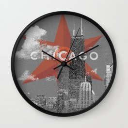 Chicago Lakefront - Grey - Star Wall Clock