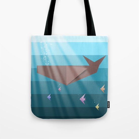 LIVING SEA (origami animals whales) Tote Bag