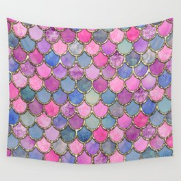 Colorful Pink Mermaid Scales Wall Tapestry