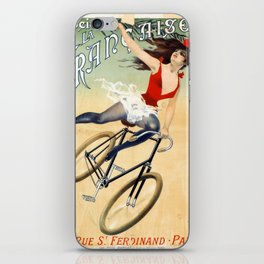 Poster vintage french bicycle girl iPhone Skin