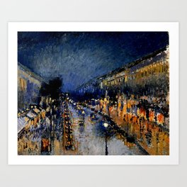 The Boulevard Montmartre At Night : Camille Pissarro Art Print