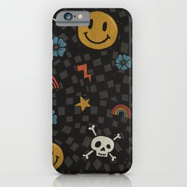 2000's Emo Pattern (GRAY) iPhone Case