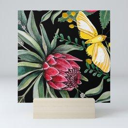 Protea flower botanical watercolor Mini Art Print