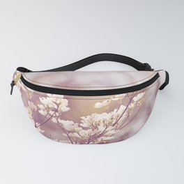 Pink White Spring Floral Photography, Dogwood Tree Blossoms, Lavender Flower Branches Fanny Pack