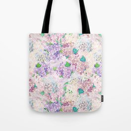 Pastel Purple and blue Lilac & Hydrangea - Flower Design Tote Bag
