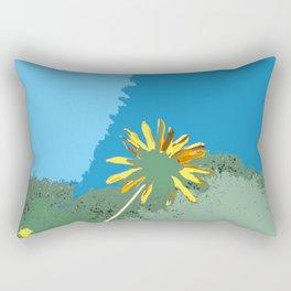 Flowers, black eyed susans, blue green yellow Rectangular Pillow