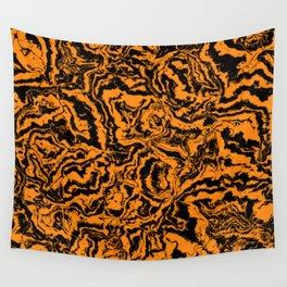 modern scramble, black and orange Wall Tapestry