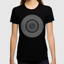 Black and White Feather Mandala Boho Hippie T-shirt