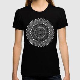 Black and White Feather Mandala Boho Hippie T-shirt