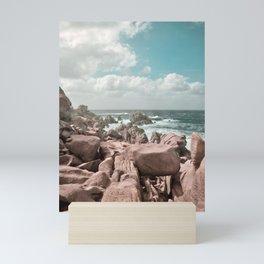 rocks and sea Mini Art Print
