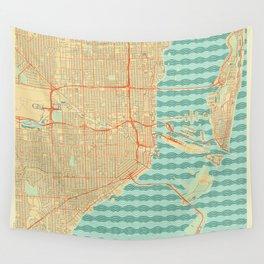 Miami Map Retro Wall Tapestry