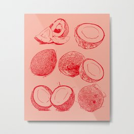 Lovely Bunch of Coconuts - Red and Blush Metal Print
