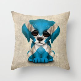 Cute Puppy Dog with flag of Scotland Throw Pillow