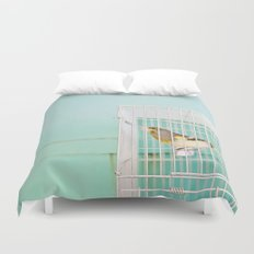 Finch against Turquoise Wall, Jerusalem Duvet Cover