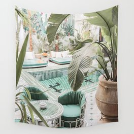Travel Photography Art Print   Tropical Plant Leaves In Marrakech Photo   Green Pool Interior Design Wall Tapestry
