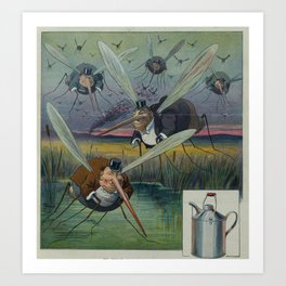 Vintage Illustration of Attacking Mosquitoes (1912) Art Print
