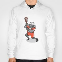 lacrosse Hoodies featuring Gorilla Lacrosse Player Cartoon by patrimonio
