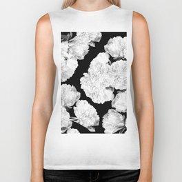 White Peony Flowers Black Background #decor society6 #buyart Biker Tank