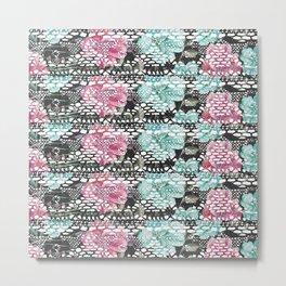 Vintage black pink teal watercolor floral lace Metal Print