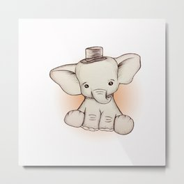 Peewee Elephant Metal Print