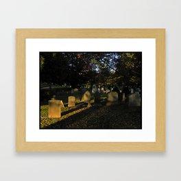 Headstones in a Fall Sunset Framed Art Print