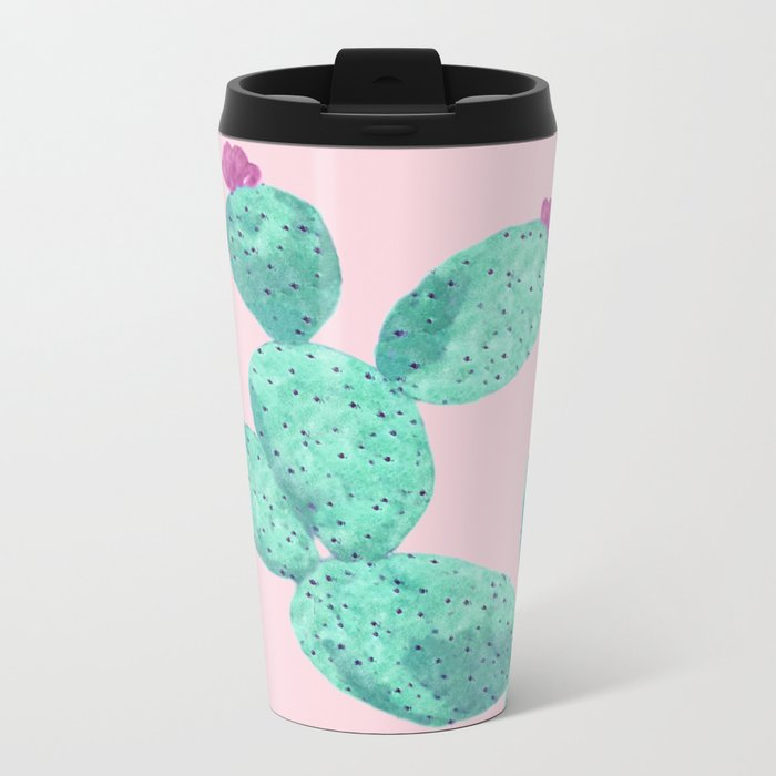 Cactus with pink flowers Travel Mug