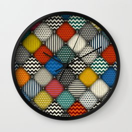buttoned patches Wall Clock