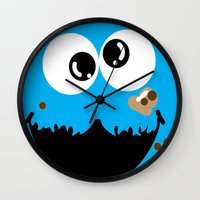 cookie monster Wall Clocks featuring Cookie Monster  by Lyre Aloise