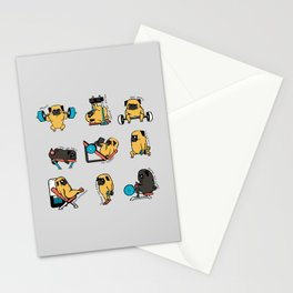 Leg Day with The Pug Stationery Cards