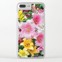 SPRING LILIES FLOWER GARDEN MEDLY Clear iPhone Case