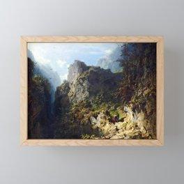 Carl Spitzweg Mountain Landscape with Lovers Framed Mini Art Print