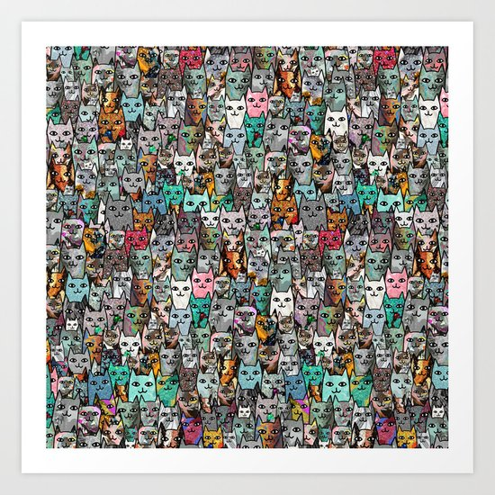 Gemstone Cats Art Print