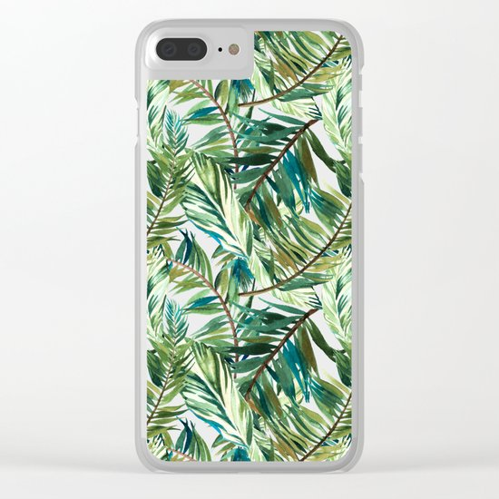 Leaf the jungle watercolor pattern Clear iPhone Case
