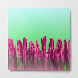 Vibrant Sunrise Cactus Landscape Glitch Metal Print