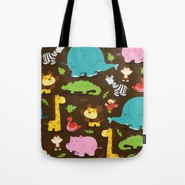 Happy Jungle Animals Pattern Background Tote Bag