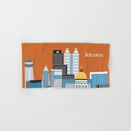 Atlanta, Georgia - Skyline Illustration by Loose Petals Hand & Bath Towel