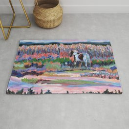 Chincoteague Pony, a colorful landscape of a wild horse in the dunes on the beach in Virginia. Rug