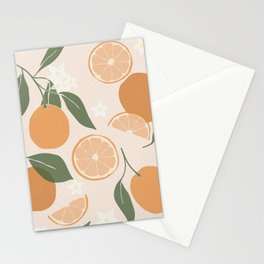 Modern Abstract Orange Pattern Stationery Cards