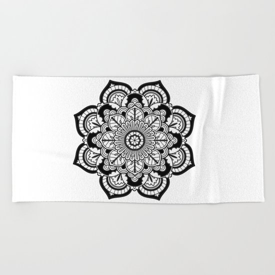 Black and White Flower Beach Towel