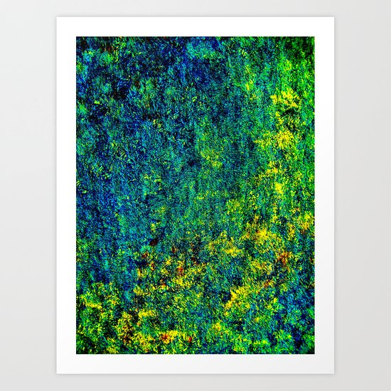 Abstract Flowers yellow and green Art Print