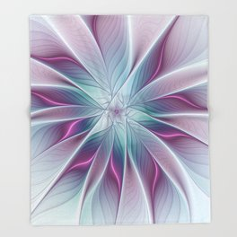 Floral and Luminous, abstract Fractal Art Throw Blanket