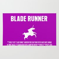 blade runner Area & Throw Rugs featuring Blade Runner Movie Poster by FunnyFaceArt