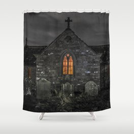 Haunting church at night Shower Curtain