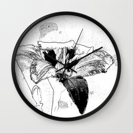 Day Lily Print in Black Wall Clock