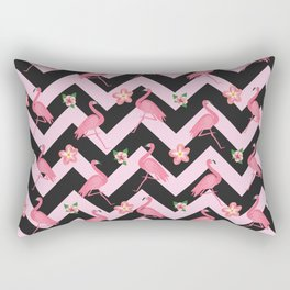 Black and pink Zig Zag With Flamingos and hawaiian flowers Pattern Rectangular Pillow