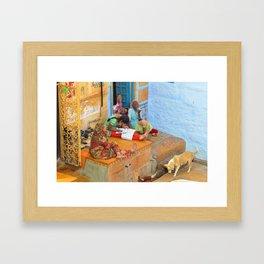 Semi-urban scene inside Jaisalmer Fort, Rajasthan, India Framed Art Print