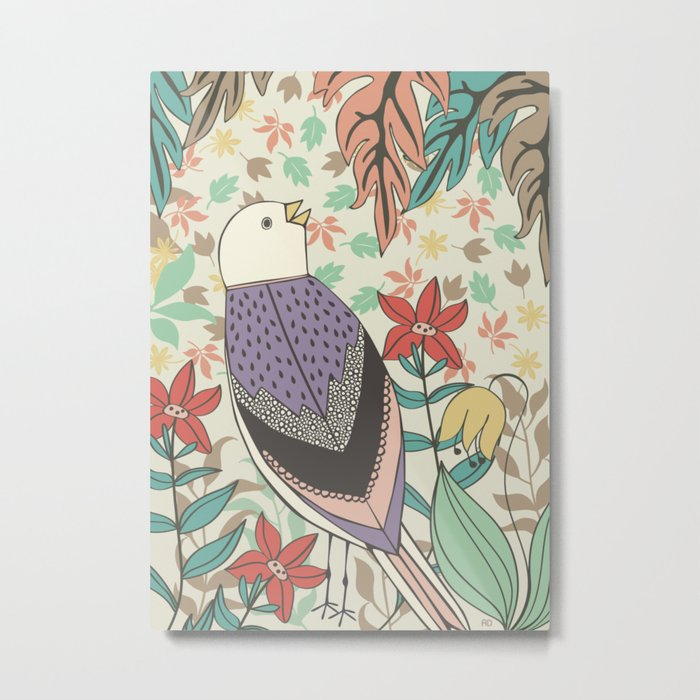 Bird and Autumn Leaves Metal Print