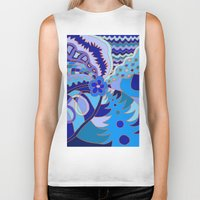 30 rock Biker Tanks featuring Abstract 30 by Linda Tomei